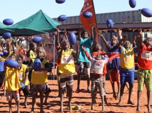 Kids at an AFL clinic in the NT.