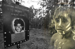 Clinton Speedy Duroux as a young child and a plaque set up in his memory at the site his body was found in 1991. Clinton was 16 when he was murdered on Bowraville mission. IMAGE: Chris Graham