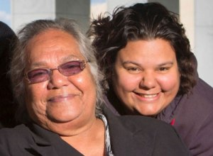 Rosalie Kunoth-Monks and her granddaughter Amelia from the Utopia homeland community in the Northern Territory.